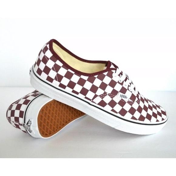 burgundy checkerboard slip on vans